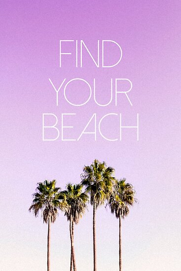 find your beach pink palm trees poster posters by claire andrews