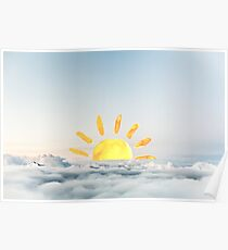 Brush Painted Sun Coming Over Clouds Poster