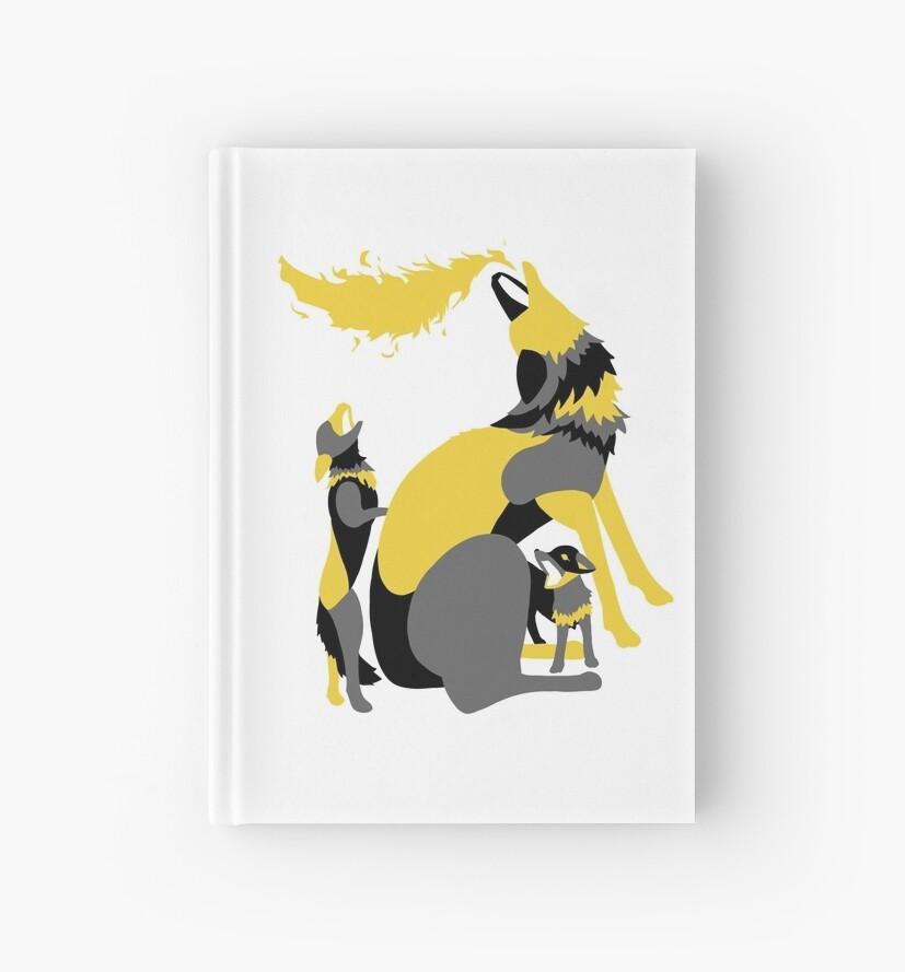 Cuadernos De Tapa Dura Lobos Aullando A La Luna Arte Tapiz Digital