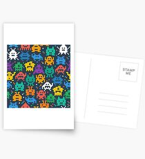 Retro video game monsters pattern Postcards