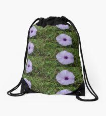 Purple Wildflower in a Green Field Drawstring Bag
