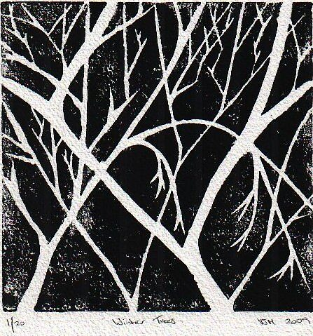 Winter Trees Linocut black by Vanessa Heaton