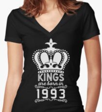 Birthday Boy Shirt - Kings Are Born In 1993 Women's Fitted V-Neck T-Shirt