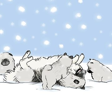 Keeshond Dogs Playing in the Snow by ShortCoffee
