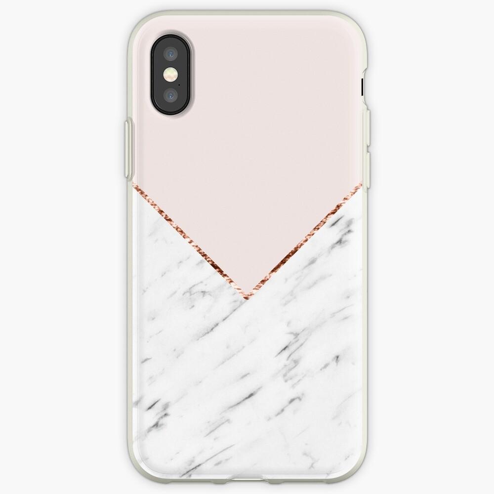 Pfingstrose errötet geometrischen Marmor iPhone-Hüllen & Cover