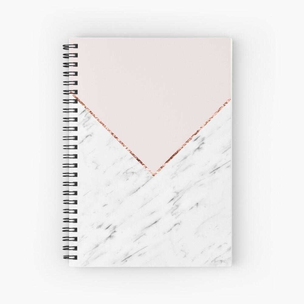 Peony blush geometric marble Spiral Notebook