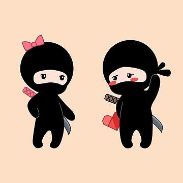 Tiny Ninja Boy and Girl by chibibikun