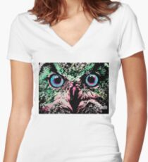 Owl by Oddly Artistic  Women's Fitted V-Neck T-Shirt