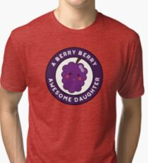 Berry Berry Awesome Daughter Funny Fruit Pun Tri-blend T-Shirt