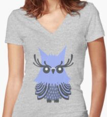 Owl Pattern Women's Fitted V-Neck T-Shirt