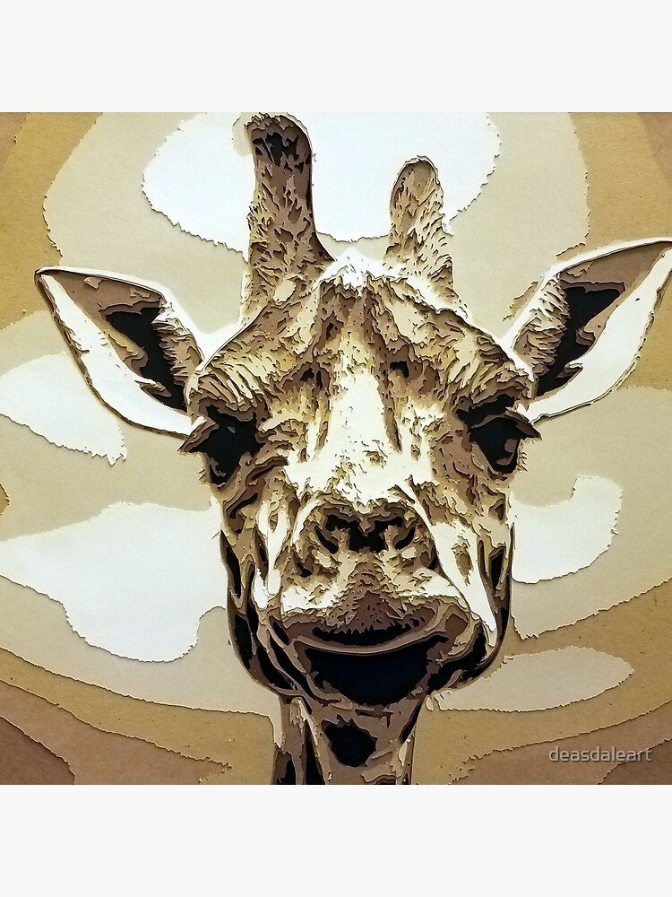 Safari Giraffe Stand Tall Cut Paper Art by deasdaleart