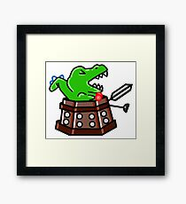 Dinosaur Exterminate! Framed Print