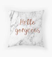 Hallo wunderschön - Rose Gold Marmor Dekokissen