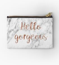 Hello gorgeous - rose gold marble Zipper Pouch