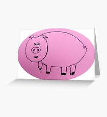 Pig - Cochon - Martin Boisvert Greeting Card