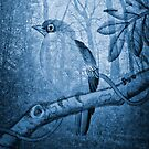 'Watchful Bird' from the Blue Series by WazobirdStudio