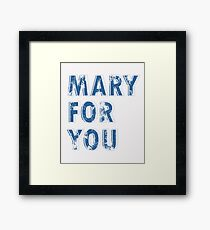 Mary For You White and Blue Marian Design Framed Print