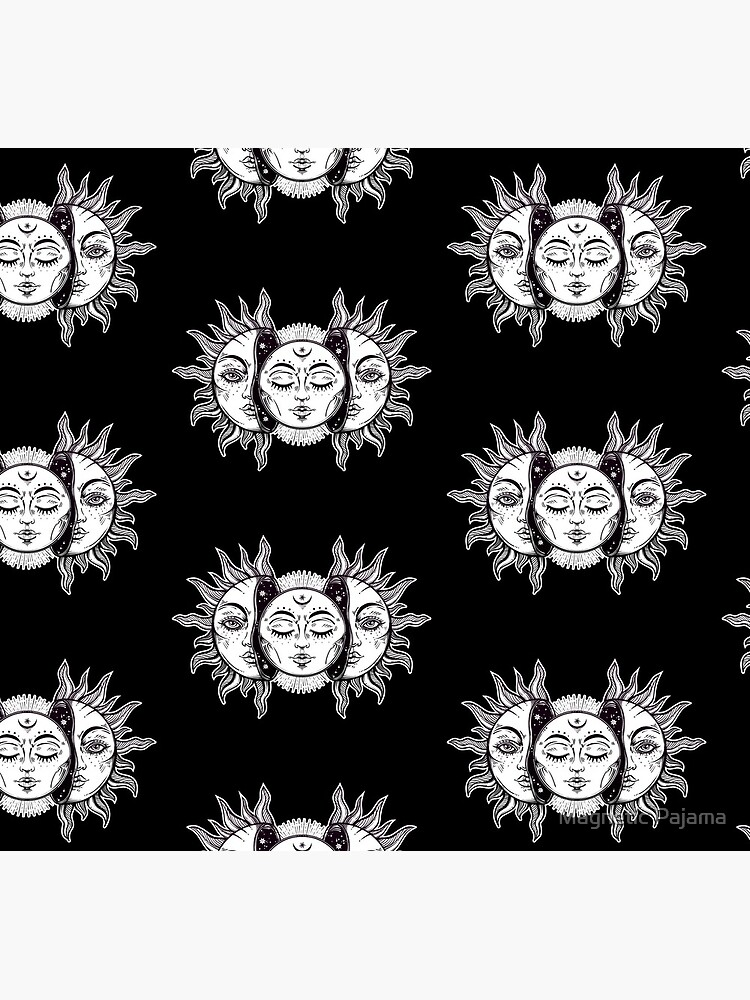 Vintage Retro Sun and Moon Solar Eclipse by MagneticMama