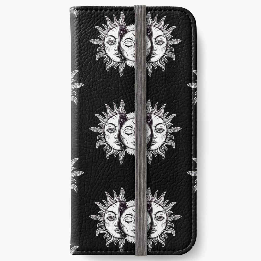 Vintage Retro Sun and Moon Solar Eclipse iPhone Wallet