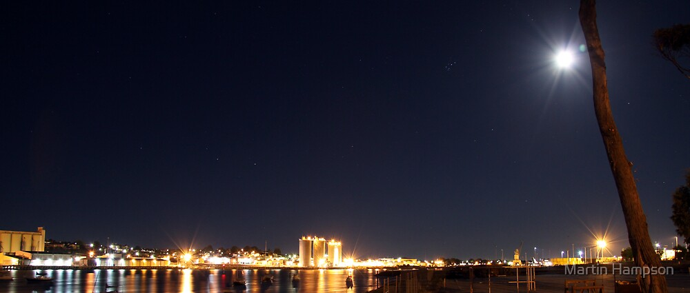 Mersey River At Night by Martin Hampson