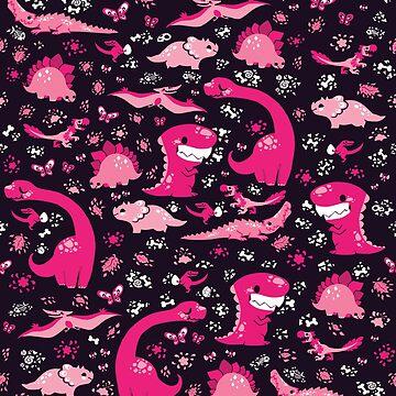 Dino Cutie Pattern in Magenta by Paigekotalik
