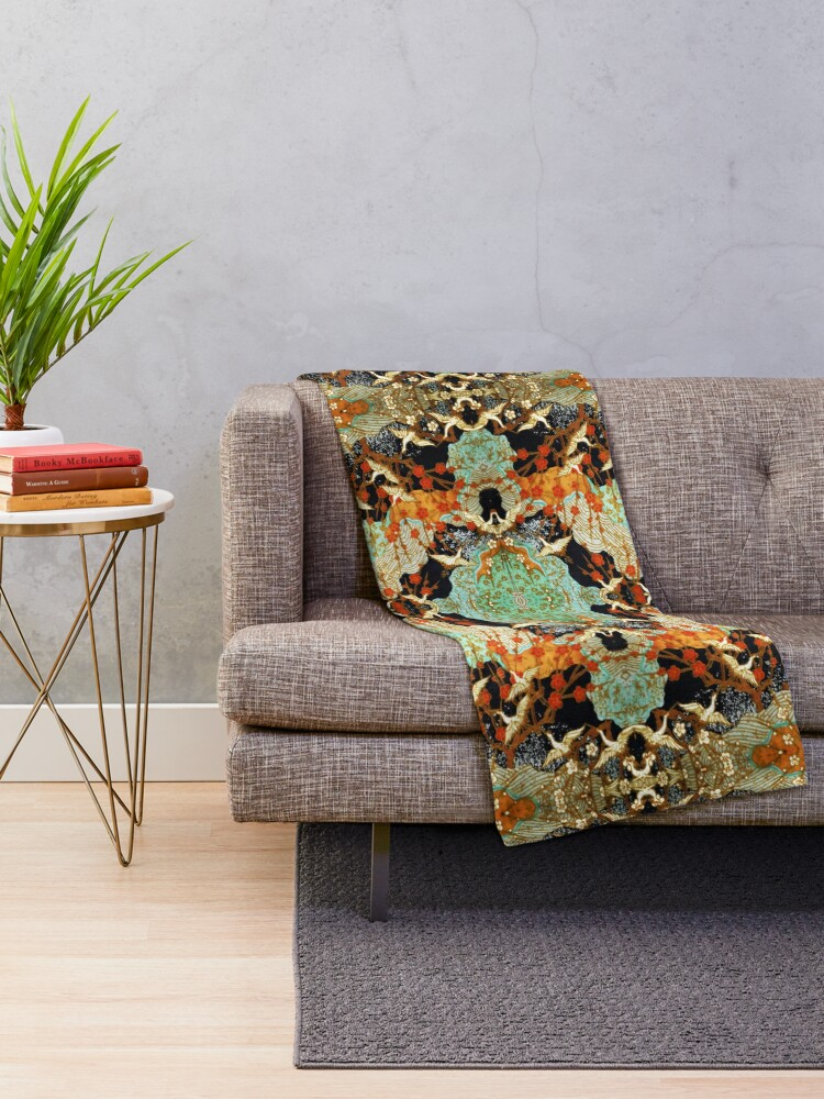 Alternate view of FLYING CRANES AND SPRING FLOWERS Antique Japanese Floral Throw Blanket