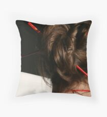 Red Chop Sticks and Pearls Throw Pillow