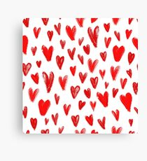 Seamless pattern with hand drawn red hearts, symbol of love Canvas Print