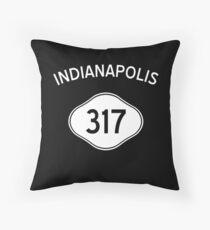 Indianapolis 317 Indiana Vintage Area Code Throw Pillow