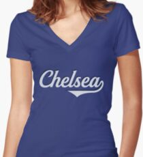 Chelsea - England - Vintage Sports Typography Women's Fitted V-Neck T-Shirt