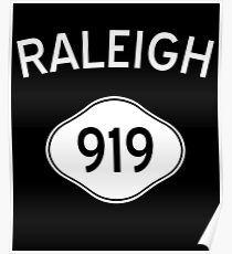 Raleigh 919 North Carolina Vintage Area Code Poster