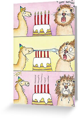 Happy Birthday My Friend ECard Llama Vs Lion