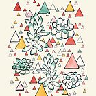 Succulent and triangles pattern by Lidiebug