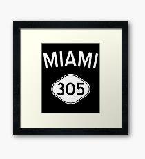 Miami 305 Florida Vintage Area Code Framed Print