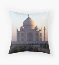 The Taj Mahal at sunrise. Throw Pillow