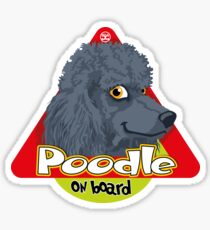 Poodle On Board - Blue Sticker