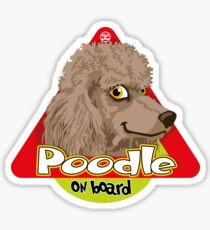 Poodle On Board - Silver Brown Sticker