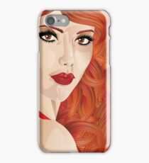 Curly red haired girl iPhone Case/Skin