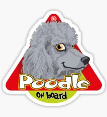 Poodle On Board - Silver/Gray Sticker
