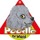 Poodle On Board - Mini Silver/Gray by DoggyGraphics