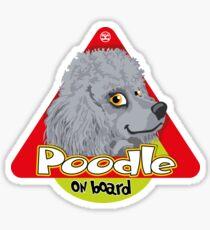 Poodle On Board - Mini Silver/Gray Sticker