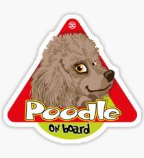 Poodle On Board - Mini Silver Brown Sticker