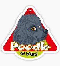 Poodle On Board - Mini Blue Sticker