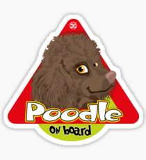 Poodle On Board - Mini Brown Sticker