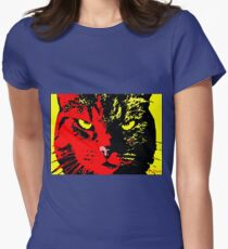ANGRY CAT POP ART -  RED YELLOW BLACK Women's Fitted T-Shirt