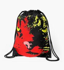 ANGRY CAT POP ART -  RED YELLOW BLACK Drawstring Bag