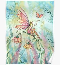 Free Fairy and Butterfly Art Watercolor Illustration  Poster