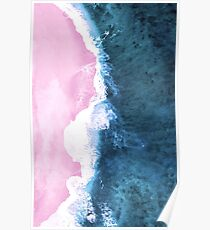 Pink Sand Meets the Ocean Poster
