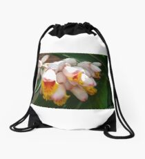White and Yellow Flowers Drawstring Bag