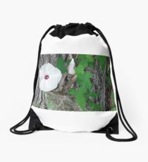 White Flower on a Green Vine Drawstring Bag